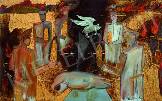 Bukta Imre - Katonatisztek a disznótoron festménye