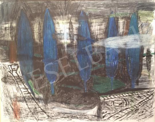 Bukta Imre - Kék jegenyék festménye