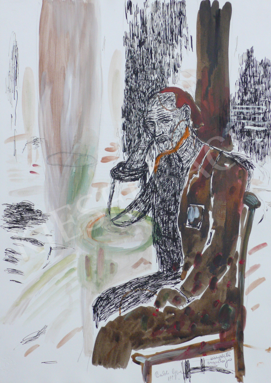 Bukta, Imre - Self-Portrait Leaning on Elbows painting