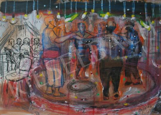 Bukta Imre - Körtánc a nyugdíjas otthonban festménye