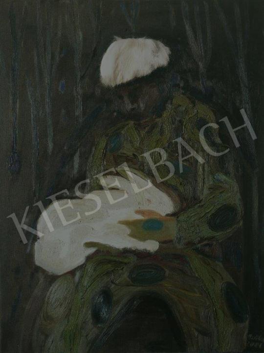 Bukta Imre - Nyulat simogató festménye