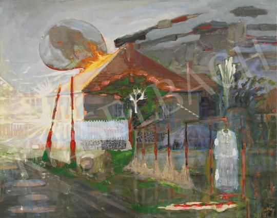 Bukta Imre - Tűz a Partizán úton festménye