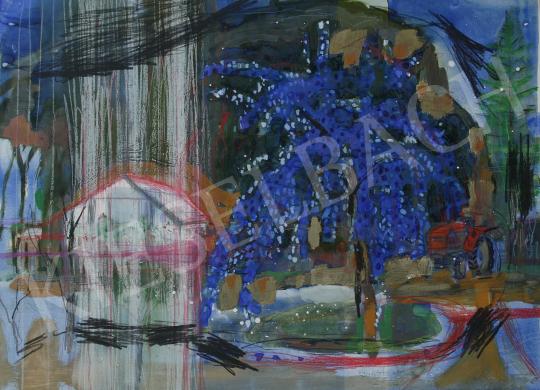 Bukta Imre - Udvaron szilvafával festménye