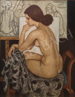 Czene, Béla jr. - Sitting Female Nude in the Studio, 1979