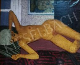 Czene, Béla jr. - Lying Female Nude in the Interior, 1966
