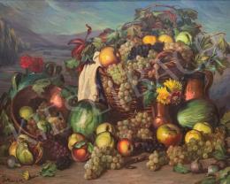 Ismeretlen művész J. Riera M. jelzéssel - Nagy gyümölcscsendélet