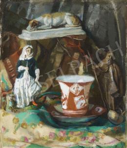Otto Herschel - Csendélet szobrokkal és vázával