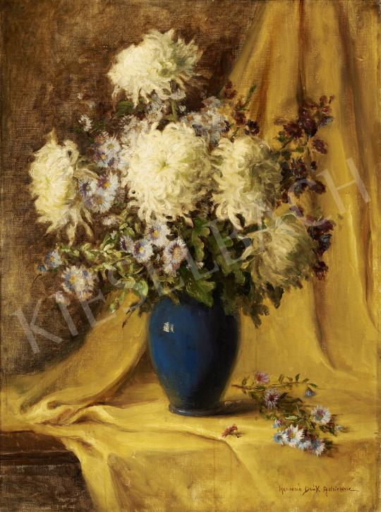 For sale  Henczné Deák, Adrienne - Flower Still Life with Yellow Draphery 's painting