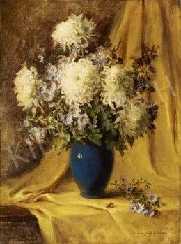 Henczné Deák Adrienne - Virágcsendélet sárga drapériával