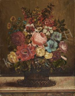 Ismeretlen közép-európai művész, 19. század második fele - Virágcsendélet