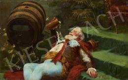 Ismeretlen alkotó F. Bauer jelzéssel - A sör szeretete (A királyi trónuson)