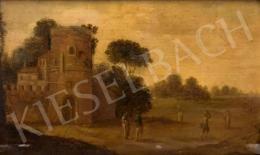 Ismeretlen németalföldi festő, 18. század - Tájkép városkapuval