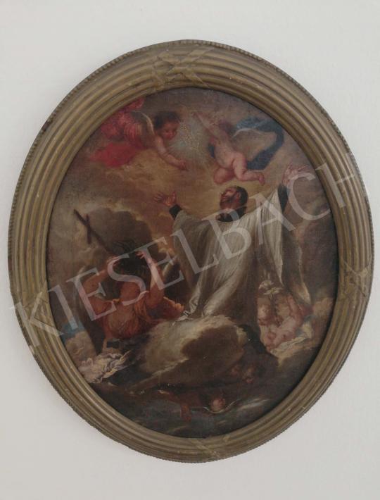 Eladó  Ismeretlen közép-európai festő, 18. század - Krisztus szent nevének imádata (Loyolai Szent Ignác) festménye