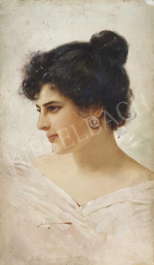 Eladó  Eduardo Forlenza - Fiatal lány portréja festménye