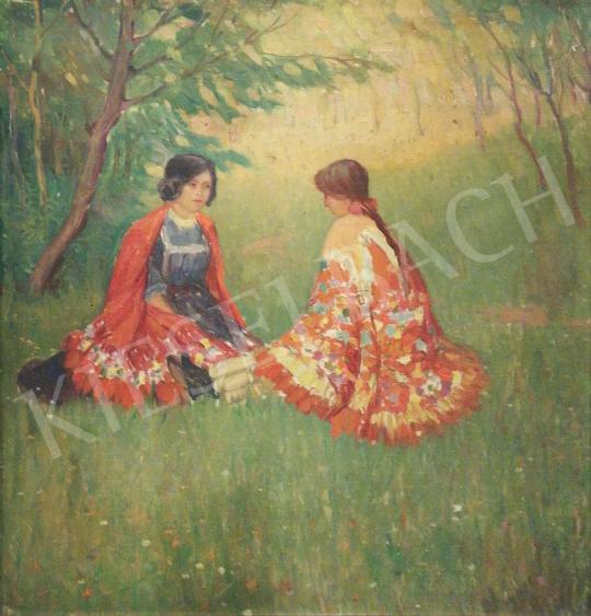 Eladó Ismeretlen festő - Lányok a réten festménye