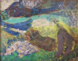 Ismeretlen festő olvashatatlan jelzéssel - Provencei tájkép