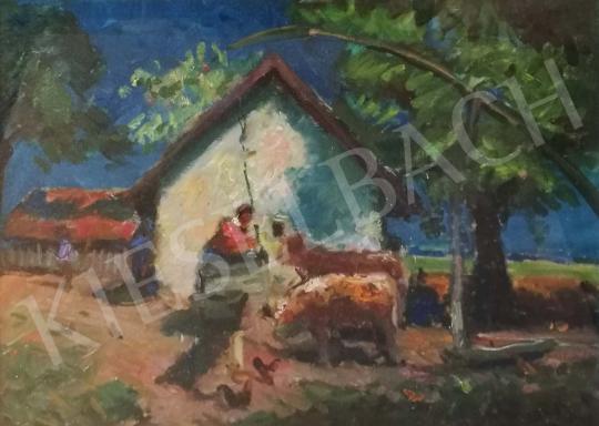 Eladó  Boldizsár István - Gémeskút az udvaron festménye