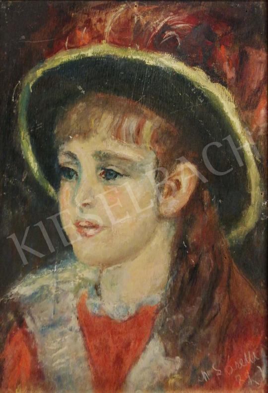 Eladó  Ismeretlen művész M. Soretti jelzéssel - Kislány sárga szegélyes kalapban festménye