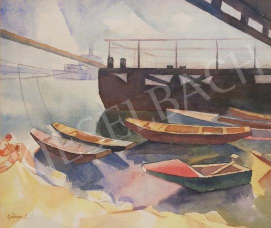 Gábor Jenő - Csónakkikötő festménye