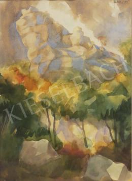 Gábor Jenő - Hegyvidéki táj sziklákkal, 1959