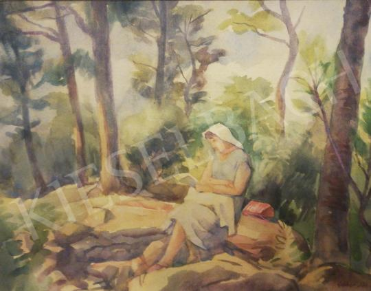 For sale  Gábor, Jenő - Reading Woman in the Forest 's painting