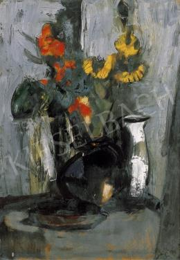 Domanovszky Endre - Csendélet virággal, fehér kancsóval