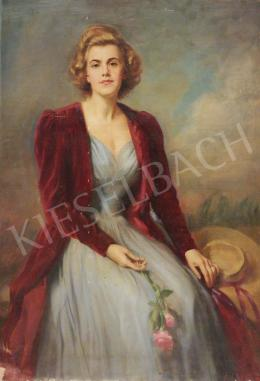 Asztalos, Gyula - Blonde Lady in Red Velvet Coat