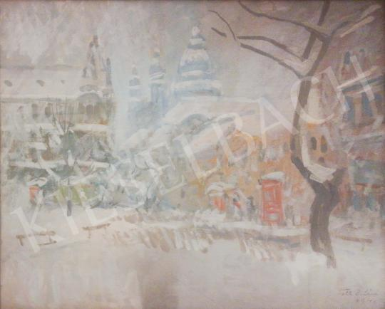 For sale Tóth B. László - Winter Street Scene in Budapest 's painting