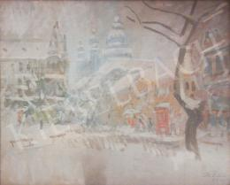 Tóth B. László - Winter Street Scene in Budapest