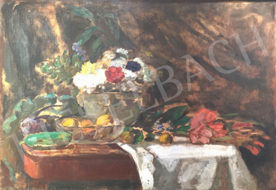 For sale  Iványi Grünwald, Béla - Still life with fruits and flowers 's painting