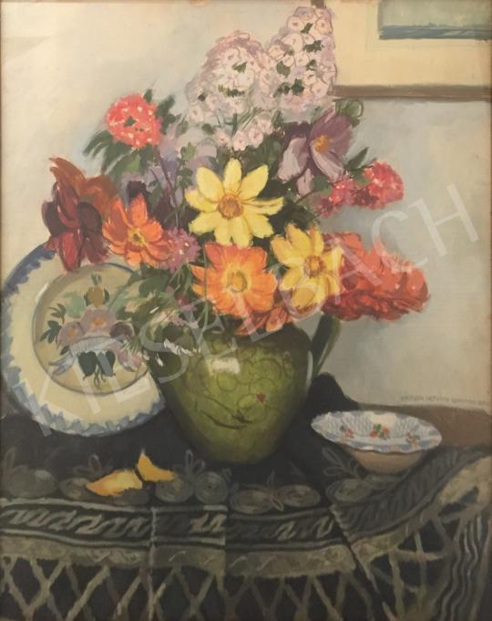 Eladó  Zádor István - Csendélet tavaszi virágokkal festménye