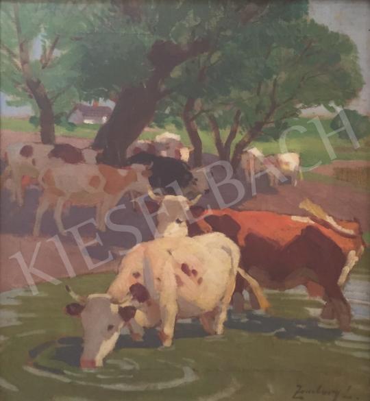 Eladó Zombory Lajos - Ivó tehenek festménye