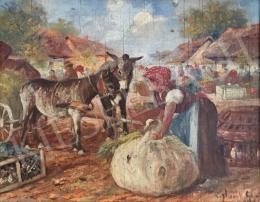 Gyertyáni Németh, Gyula - Donkey Carriage Coach on the Market