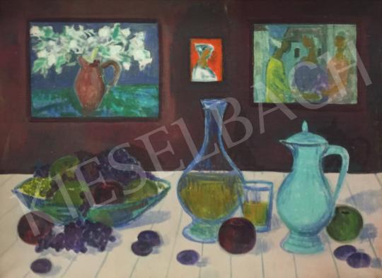 Eladó  Böhm Lipót - Gyümölcsös csendélet festményekkel a háttérben festménye