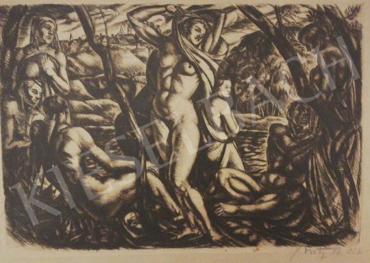 Uitz Béla - Nőalakok (Fürdőzők) festménye