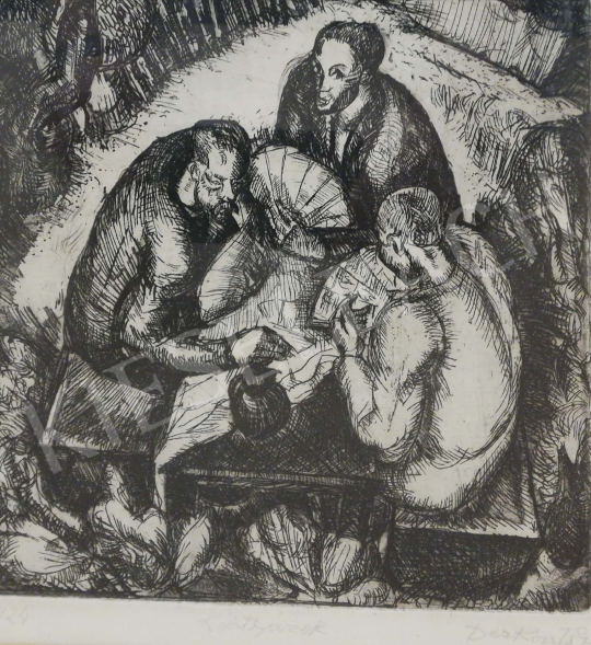 Derkovits Gyula - Kártyázók festménye