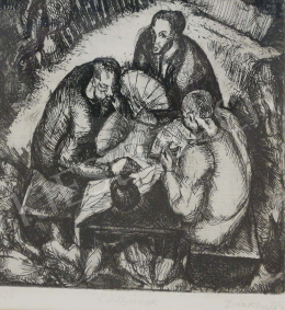Derkovits, Gyula - Card players (1924)