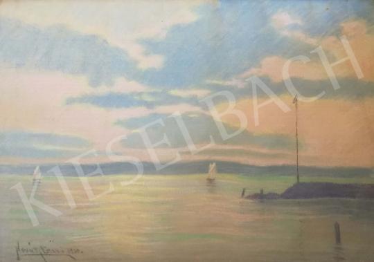 Novák Erzsébet - Balatoni vitorlások festménye