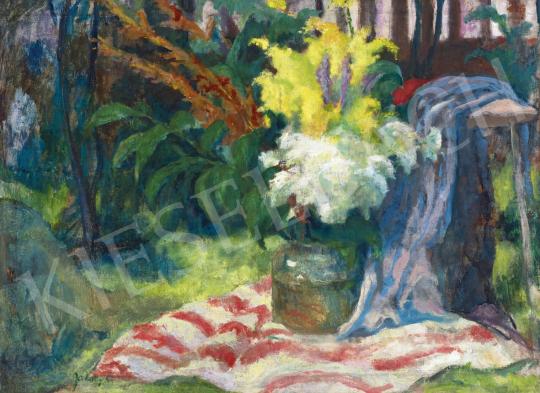 Jakoby Gyula - Virágcsendélet kertben, 1930-as évek | 61. Tavaszi Aukció aukció / 10 tétel
