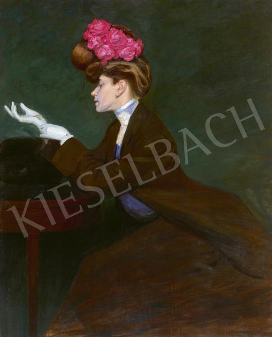 Heller Ödön - Hölgy virágos kalapban, 1905 | 61. Tavaszi Aukció aukció / 24 tétel
