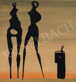 Korniss, Dezső - Two Figures with Tower, around 1947