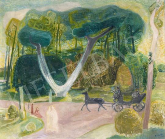 Szín György - Séta a parkban (Sétakocsikázás), 1930-as évek | 61. Tavaszi Aukció aukció / 46 tétel
