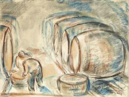 Egry József - Borfejtők (Badacsonyi pince), 1938