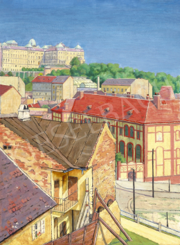 Ismeretlen magyar festő, 1910-es évek - A Budai Vár a Tabán felől