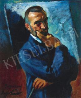 Ziffer Sándor - Műteremben (Önarckép festőállvány előtt), 1920-as évek