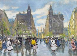 Berkes Antal - Pesti belváros az Erzsébet híddal, 1916