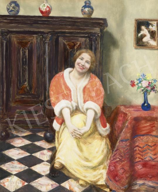 Csók István - Lány mezei csokorral, 1920-as évek | 61. Tavaszi Aukció aukció / 119 tétel