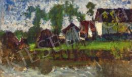Koszta József - Házak a patakparton, 1920-as évek