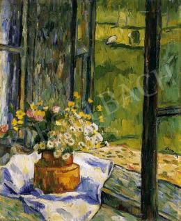 Czimra, Gyula - A Bucket of Flowers by the Window, about 1936