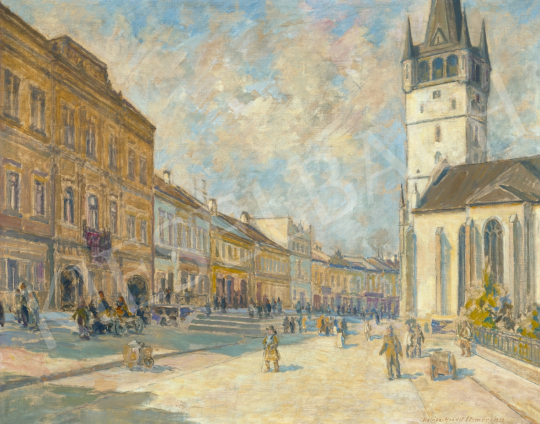 Halász-Hradil, Elemér - Main Square in Eperjes, 1926 | 61st Spring Auction auction / 14 Item